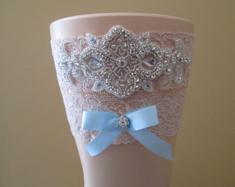 Blush Lace Wedding Garter Set, Dusty Pink Bridal Garter, Pale Pink Prom Garters, Rhinestones, Something Blue, Rustic- Country Bride