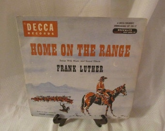 Vintage Children's 2 Record Set - Home on the Range by Frank Luther