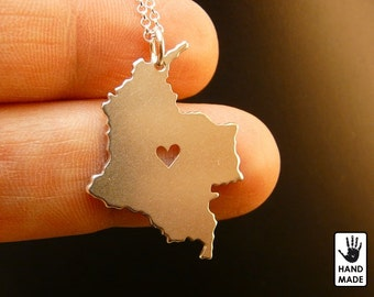 COLOMBIA Map Handmade Personalized Sterling Silver .925 Necklace in a gift box