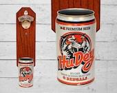 Brother Gift Cincinnati Bengals Hu Dey Wall Mounted Beer Bottle Opener with Vintage Hudepohl Beer Can Cap Catcher