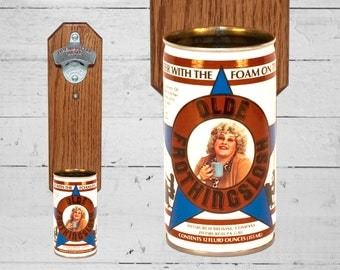 Wall Mounted Bottle Opener with Vintage Old Frothingslosh Beer Can Cap Catcher - Groomsman Gift