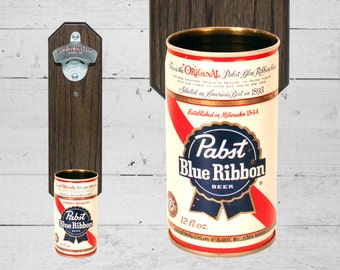 Wall Mounted Bottle Opener with Vintage Pabst Blue Ribbon Beer Can Cap Catcher - Gift for Guy Man Cave Decor