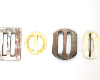 Antique Shell Buckles Lot of 4