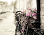 Pastel Decor, Paris Photography, Beige, Pink, Bike Print, Travel, Shabby Chic, Bike Photography