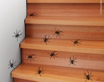 Spiders Wall Decal, Spiders Wall Sticker, Spiders Room Decor, Insects Wall Decal, Spiders Halloween Decoration Vinyl Wall Decals Set of 25