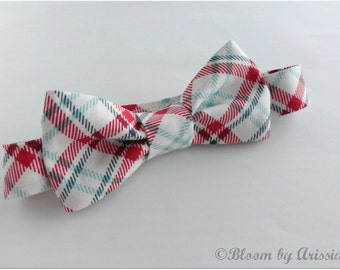 Preppy bow tie collection, Red and white plaid All sizes available.