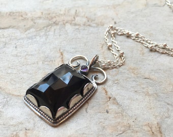 Onyx amethyst Necklace, gemstone necklace, Sterling silver pendant, bridal necklace, black pendant, crown setting - Once upon a time. N8837