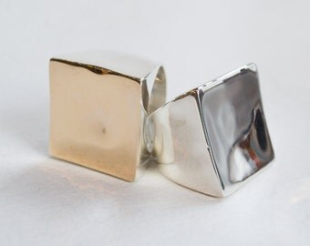 Square Twotone Ring, Geometric statement Ring, Chunky Ring, Boho large silver ring, Statement Ring, silver gold Ring - Geometric - R2263G