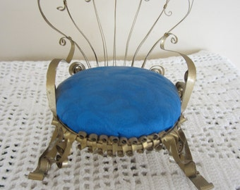 Vintage Rocking Chair Pin Cushion Ornate Metal