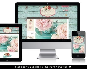 Website Template, Website Design, Ecommerce Website Template, rustic chic shabby website, Responsive Website, web site template,Roses Aqua
