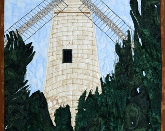 Quilted Landscape Scenes of Israel: Jerusalem Windmill