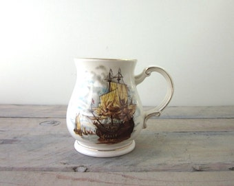 Vintage China Pitcher Sailing Ship Made in England Sadler