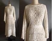 RESERVE 4 JUDY...Vintage 70s mts 20s stlye  Rate Cherub 1930's Quaker Lace Hippie Boho Dress