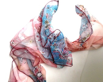 "Hand painted silk scarf ""Morning Dew"" - pure chiffon silk - dusty red flowers on white,pastel pink and bright blue background . Silk art"