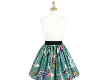 Zombie Pin up Halloween A-line Pleated Skirt