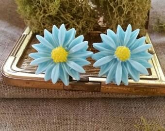 Large Bridal Plugs, Prom Plugs, Flower Plugs, Light Blue Sunflowers