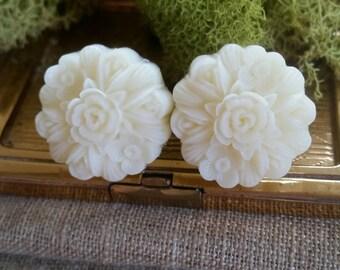 Large Bridal Plugs, Prom Plugs, Large Flower Plugs, White Flowers