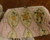 RESERVED Antique PETIT POINT Beaded Clutch Bag Fine Handwork