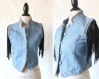 Vintage Denim Vest with Studs and Leather Fringe