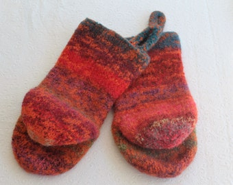 Knit Felted Wool Oven Mitt Set in Bright Orange, Turquoise, Red Oven Mitt Set, Knit Felted Oven Mitts, Red Wool Oven Glove Set, Hostess Gift