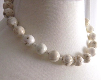 Chunky White Turquoise (Magnasite) Necklace Single Strand Necklace Beaded Necklace Bold Rustic Fashion Jewelry