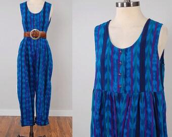 Vintage GUATEMALAN blue IKAT cotton jumpsuit / Slouchy tribal jumpsuit / Bohemian romper