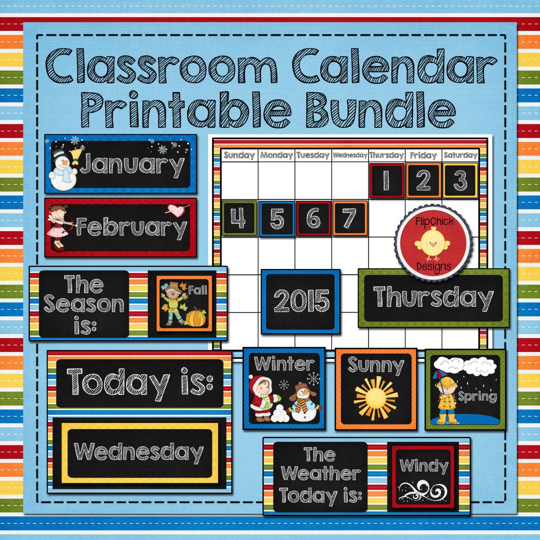 Classroom Calendar Printables : Classroom calendar printable bundle