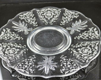 Fostoria, Navarre No. 327 Etched on Baroque No. 2496 Crystal Serving Plate