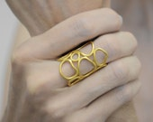 gold organic ring - 24K gold plated sterling silver ring -  statement ring