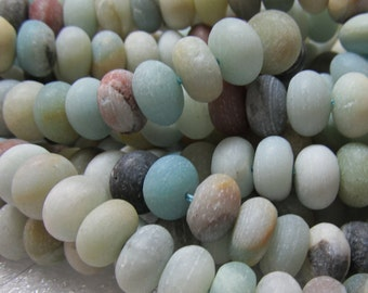 Amazonite Beads 10 x 6mm Rough Matte Natural Blue Rondelle Beads  - 8 inch Strand