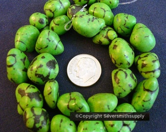 Imitation green coral or turqoise nugget beads, created 16 in strand 12-16mm BS039