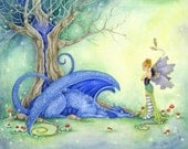 Dragon Art Print - Blue Has Been a Bad Dragon - fantasy. fairy. fairy tale. whimsical. tree. illustration.