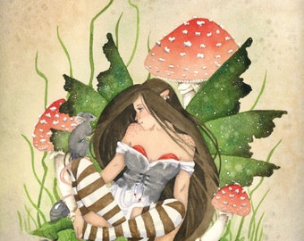 Fairy Art Original Watercolor Painting - 9x12 - Little Friend - fantasy. whimsical. mouse. woodland. cute. red. mushroom.