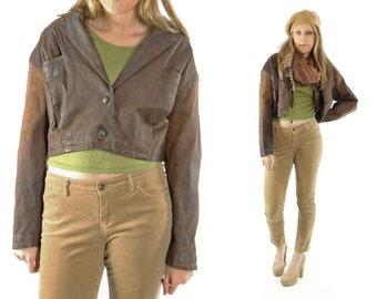 Vintage 80s Brown Leather Jacket Cropped Distressed Womens Outerwear 1980s Biker Motorcycle Blazer Large L Medium M