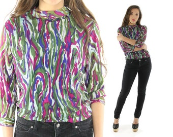Vintage 60s 70s Abstract Blouse Long Sleeve Top Nylon Shirt 1960s 1970s Mod Medium M Large L Work Business