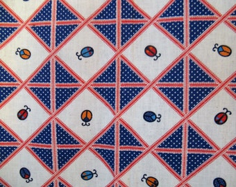 """Vintage 60s 70s  Red White & Blue Stripes and Ladybugs Cotton Fabric,  44 x 44"""""""