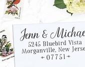 Custom Address Stamp, Return Address Stamp, Rustic Wedding address stamp, Self inking or Eco Mount stamp, Calligraphy Stamp - Sawyer