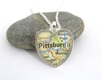 Pittsburgh  Map Necklace, Pennsylvania,  Heart Pendant
