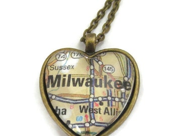 Milwaukee Map Necklace, Wisconsin Jewelry,  City Map Jewelry, Heart Pendant with Chain, Bronzed or Silver Plated