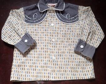 Vintage !950's Child's Toddler Cowboy Western Shirt w/Embroidery-sz 37-Cotton Kid's Cowboy Shirt