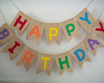 Happy Birthday Banner, Rainbow Birthday, Rainbow Birthday Banner, Reusable Birthday Banner