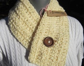 Cream Neckwarmer with Button, Crochet Scarf, Unisex Winter Wear by Crocheted by Charlene, Mens Ready to Ship, Gift for Mom, Short Scarf
