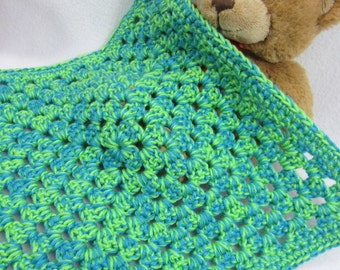 Doll Blanket, Baby Doll Afghan Lime Green and Turquoise Snuggie, Crochet Doily, Crocheted Bright Doll House Quilt, Granny Square Blanket