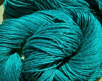 "Wet Spun Linen Yarn Soft & Durable ""Teal"" Spinning and Weaving"