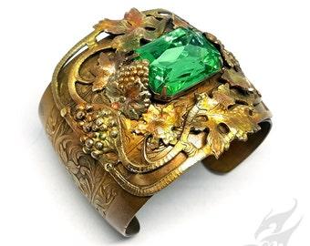 CHARDONNAY Bold Brass Cuff w/ Peridot Green Rhinestone, Grapes & Grape Leaves ~ Patterned Rainbow Patina Art Nouveau Inspired #B0121 by RTD