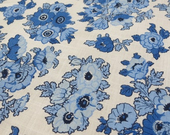 "Vintage Fabric - Shades of Blue Floral - 1 5/6 yds x 36"" wide"
