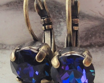 Heliotrope Swarovski Crystal Lever Back Earrings, Dark Purple Crystal Drop Earrings, Bridesmaid Crystal Dangle Earrings, Dark Blue Earrings