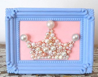 Princess Crown - Mosaic wall art - Pastel Blue and Pink - Ornate frame - Beach Cottage Decoration - Framed 3d Art - Pearl Crown Pantone 2016