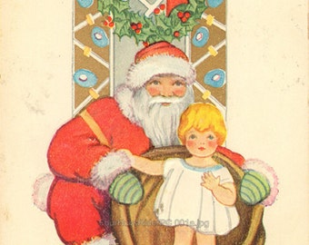 Christmas Greetings Vintage Post Card Unused Santa Claus Little Girl
