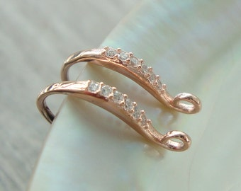 2 pcs, 16x10mm, Rose Gold plate on 925 Sterling Silver French Ear wire with 6 aaa CZ, Earring Findings - EW-0059